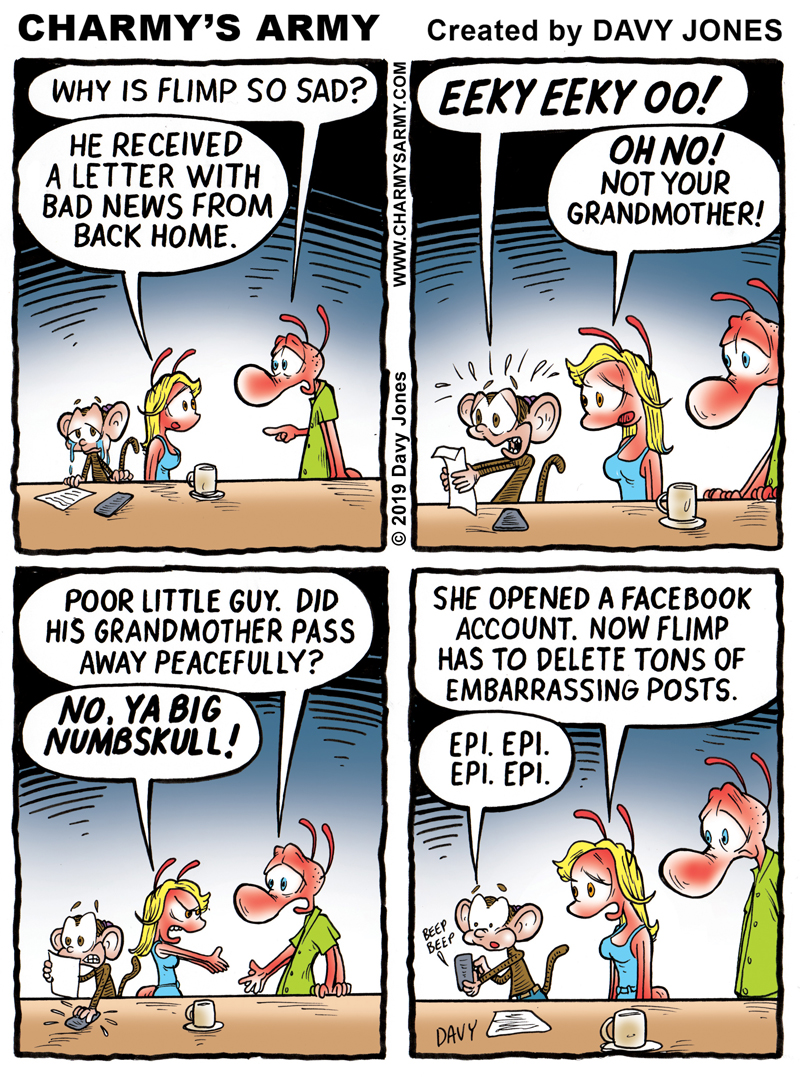 Flimp The Chimp receives shattering news from back home in this week;s comic strip.