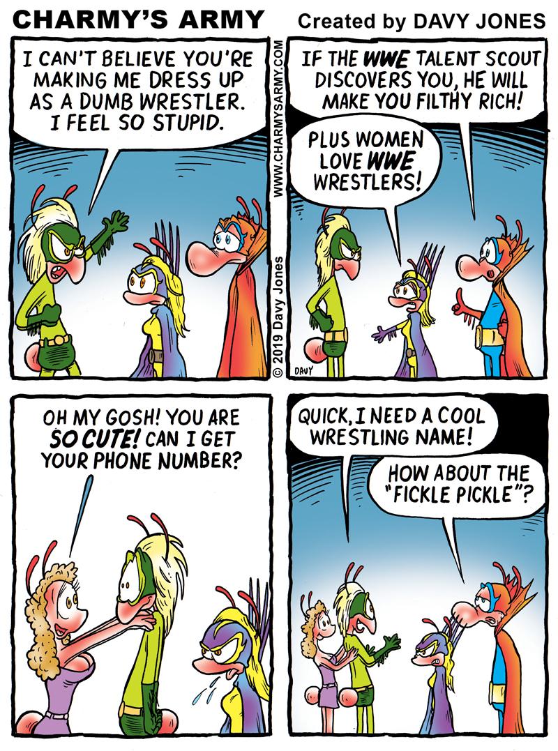 The wrestling bug bites Weaver in today's comic strip.