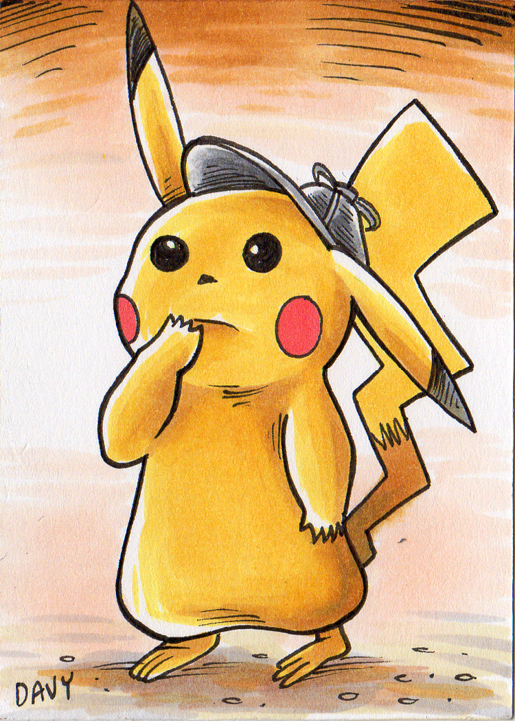 Detective Picachu Sketch Card Art