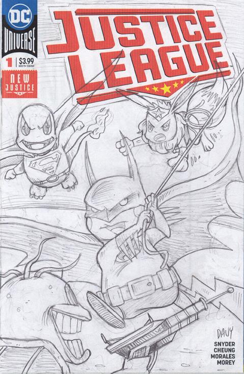 Pokemon as the Justice League Pencil Sketch.