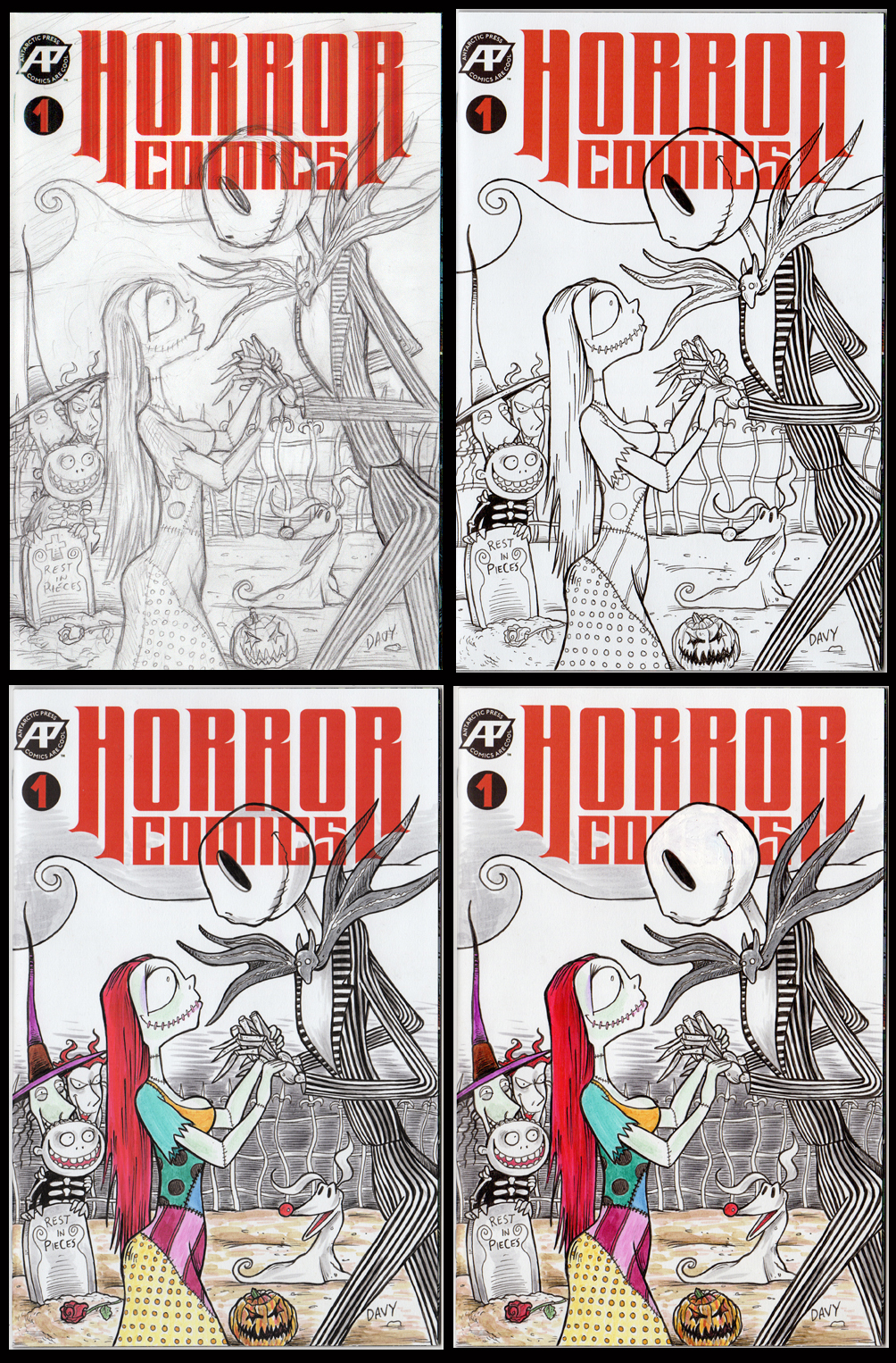 The Nightmare Before Christmas Sketch Cover - Step by step...