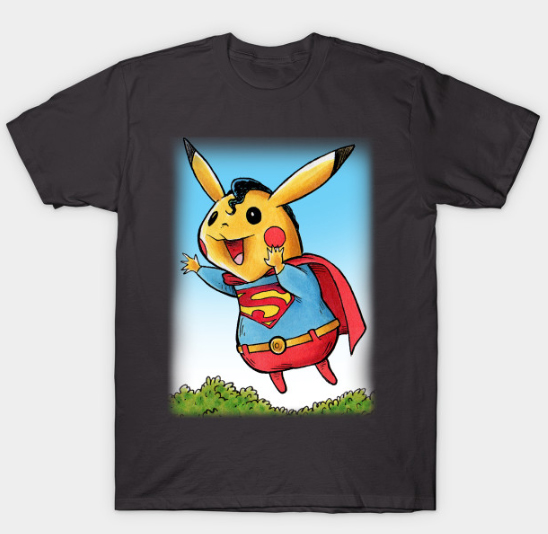 Pikachu as Superman. T-Shirt now available!!!