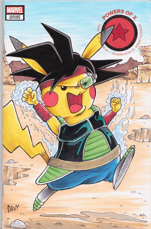 Pikachu as Bardock from Dragonball Z illustrated by cartoonist Davy Jones.