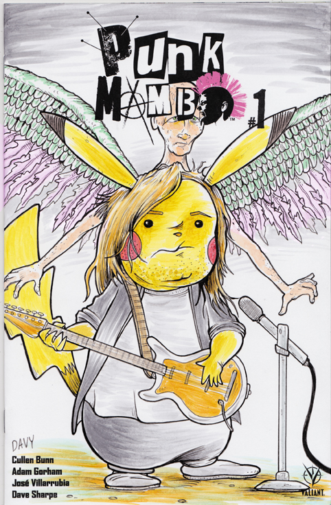 Pikachu as Kurt Cobain illustrated by cartoonist Davy Jones.