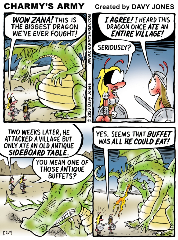 Warrior Wench Wendy tackles a giant dragon in today's comic strip.
