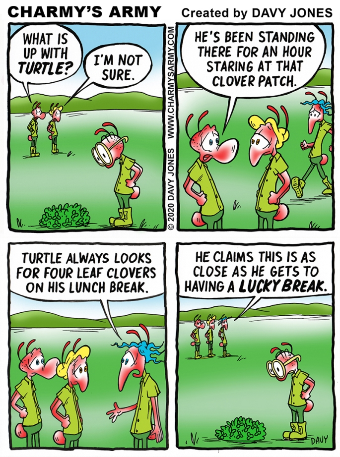 Turtle looks for four leaf clovers in today's comic strip.