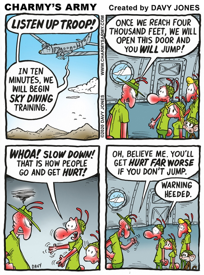 Charmy must jump out of an airplane in this week's comic strip.