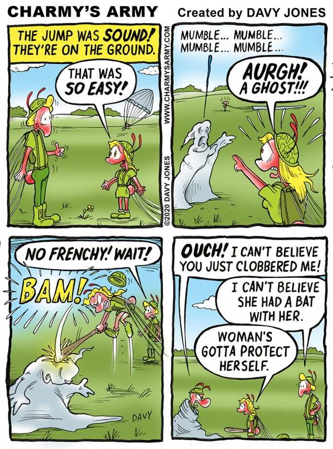 Frenchy beats the @#$@ out of a ghost in today's comic strip