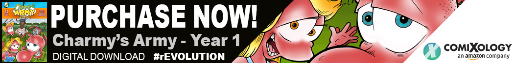 Purchase a collection of comic strips from Charmy's Army and their first year in print on Comixology.