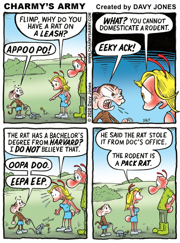 Flimp Keeps his Pet on a Tiny Leash in today's Comic Strip