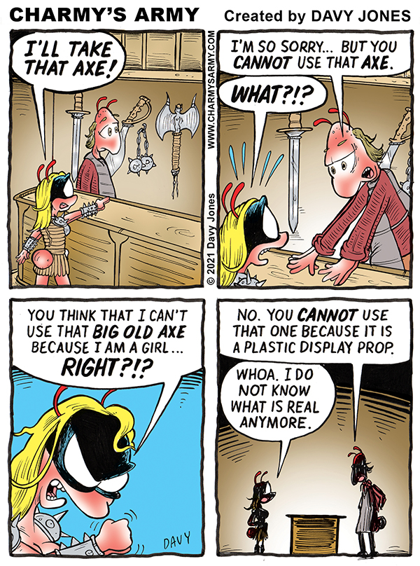 Warrior Wench Wendy swings a MIGHTY big axe in today's comic strip.