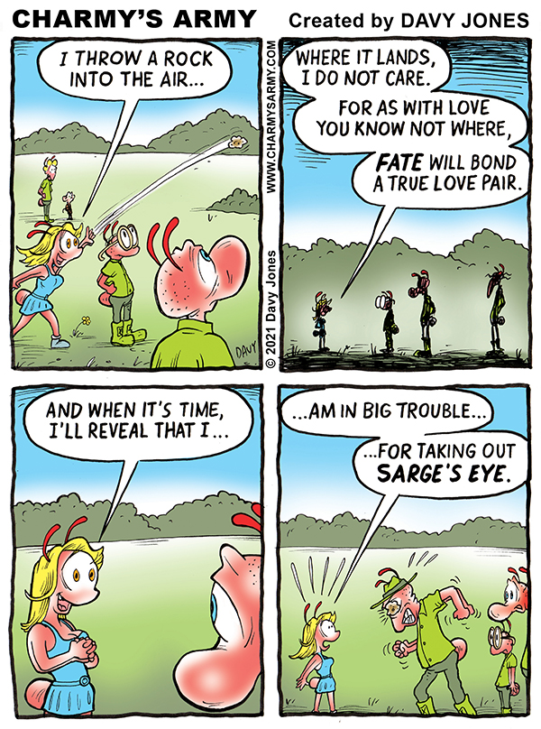 Frenchy is quite the poet in today's comic strip from cartoonist Davy Jones and his comic strip Charmy's Army.